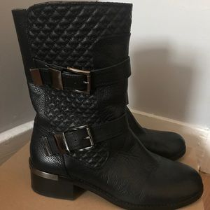 Vince Camuto quilted biker leather boots